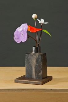 "Spring Bouquet in Qing Bottle bronze, steel, paint 14"" x 7"" x 7"""