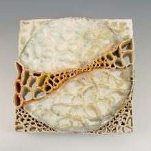 "Crop Circle Study #16                      2017 8"" x 8"" x 3"" Soda Fire Porcelain Paper Clay"