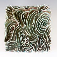 "Turquoise Lines                                 8"" x 8"" x 3"" Soda Fire Porcelain Paper Clay 2017"