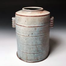 "Barrel Vase #1 Soda fired stoneware 9""h x 7.5"" x 6"" 2018"