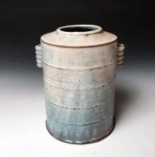 "Barrel Vase #2 Soda fired stoneware 9""h x 7.5"" x 6"" 2018"