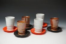 "Cups and Saucers 5""h x 5""d porcelain and stoneware, 3-d printed organic polymer 2017"