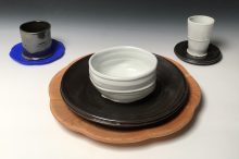 "Cherry Place Setting Porcelain, stoneware, cherry and 3-d printed organic polymer 13 ¾"" x 4 ½""h 2018"