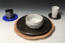 "Maple Place Setting Porcelain, stoneware, maple and 3-d printed organic polymer 13 ¾"" x 4 ½""h 2018"