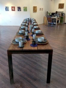 "The Table 14 Place Settings, 3 Vases 17' long x 34"" wide"