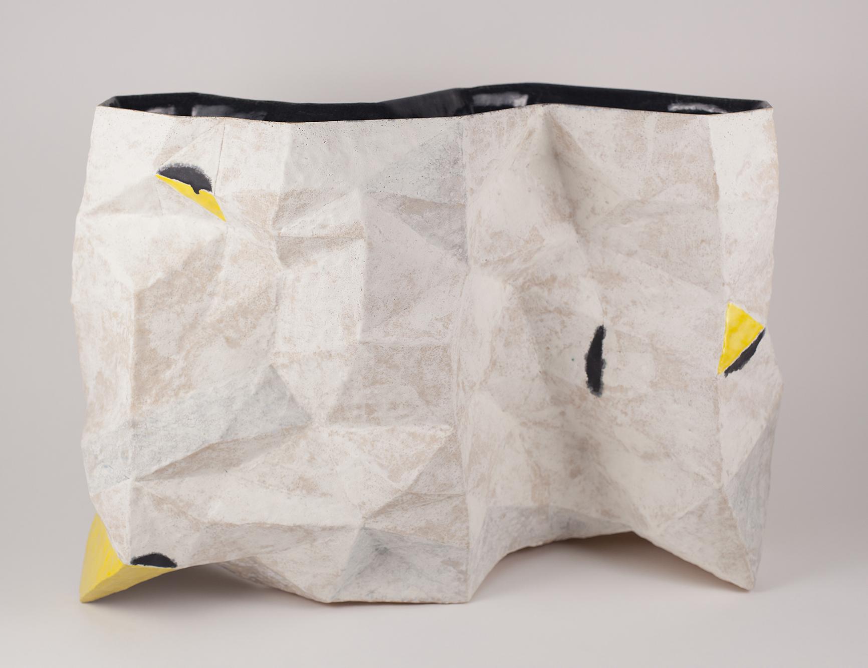 Del Harrow, Faceted Envelope (white, yellow, black, grey), 2020